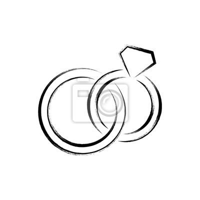 Schwarze Vektor Hochzeit Ringe Symbol Notebook Sticker Wandsticker