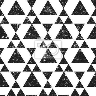 Schwarzes geometrisches Dreieckhintergrund. Zusammenfassung nahtlose Muster Grunge texturiert.