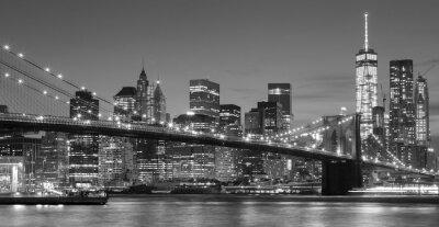 Sticker Schwarzweiss-Manhattan-Ufergegend nachts, NYC.