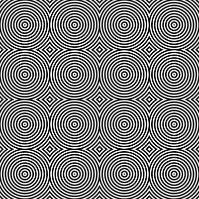 Sticker Schwarzweiss-psychedelisches Circular Textilmuster.