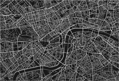 Sticker Schwarzweiss-vektorstadtplan von London mit gut organisierten getrennten Schichten.