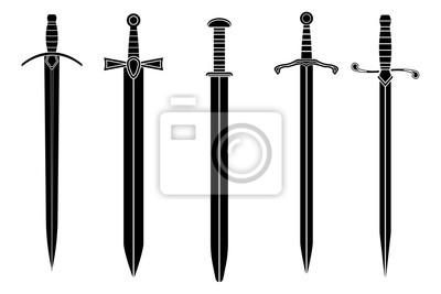 Sticker Schwerter. Sammlung von schwarzen Icons