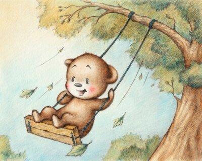 Sticker Schwingen Teddybär