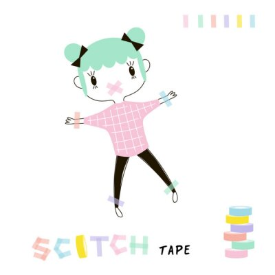 scotch-taped tiny cartoon funny planner girl, kawaii style character, pastel colours simple flat vector graphic, cute office concept illustration