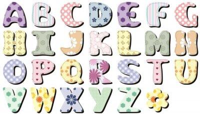 Sticker Scrapbook Alphabet auf weißem Hintergrund