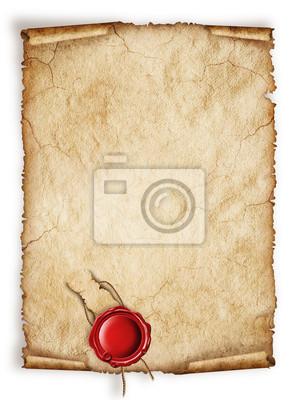 Scroll alten Blatt Papier, Vintage aged alte Papier mit rotem Wachs-Siegel
