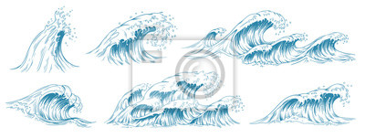 Sticker Sea waves sketch. Storm wave, vintage tide and ocean beach storms hand drawn vector illustration set