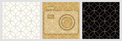 Sticker Seamless abstract modern geometric circle line pattern for elegant golden christmas background