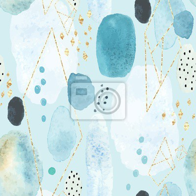 Seamless abstract pattern with colorful watercolor spots and decorative elements of golden texture. Vector handmade illustration on turquoise background.