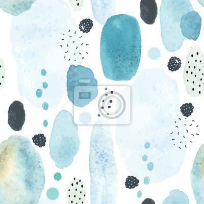 Seamless abstract pattern with colorful watercolor spots, doodles blackberries and elements memphis style. Vector handmade illustration on white background.