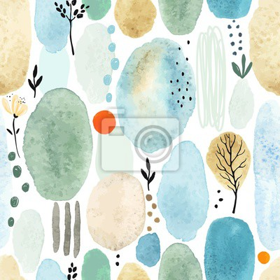 Seamless abstract pattern with floral elements, dots and colorful watercolor spots. Vector illustration on white background.