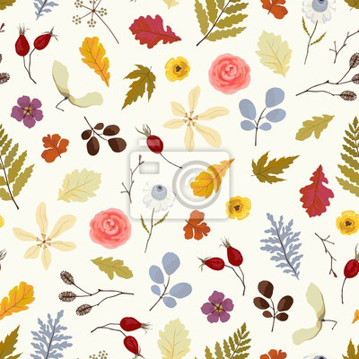 Seamless abstract pattern with flowers, branches and leaves. Vector floral autumn illustration.