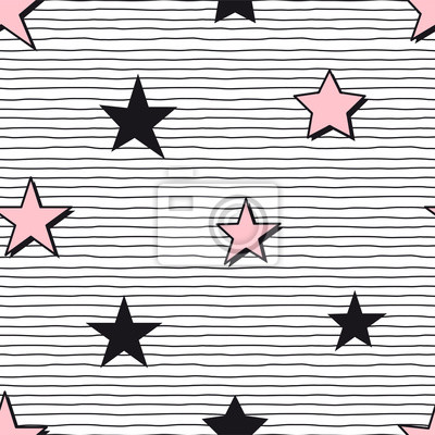 Seamless abstract pattern with pink and black stars on stripy background. Girlish starry seamless pattern. Perfect for bedding and sleepwear textile and fabric.