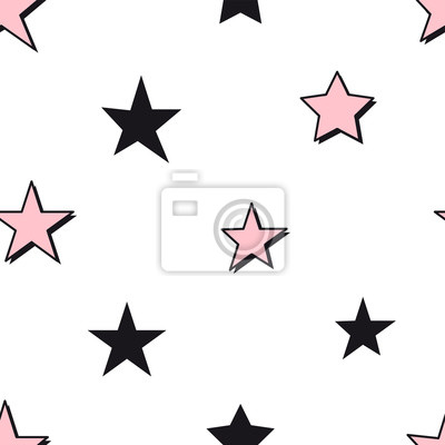 Seamless abstract pattern with pink and black stars on white background. Girlish starry seamless pattern. Perfect for bedding and sleepwear textile and fabric.