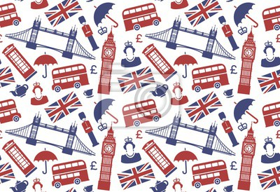 Seamless background with traditional symbols of England