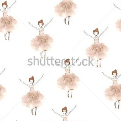 Sticker Seamless background with watercolor elegant ballet dancers. Hand painted elements. Decorative pattern for web, wallpaper, textile, clothing, fabric, scrapbook, stationery, home decor.