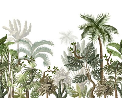 Sticker Seamless border with tropical tree such as palm, banana, monstera. Vector.