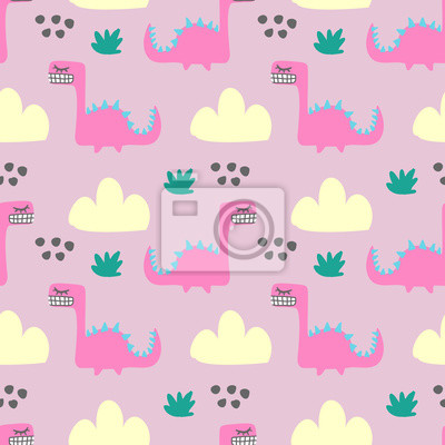 Seamless colorful fun monster animal pattern for children textile print