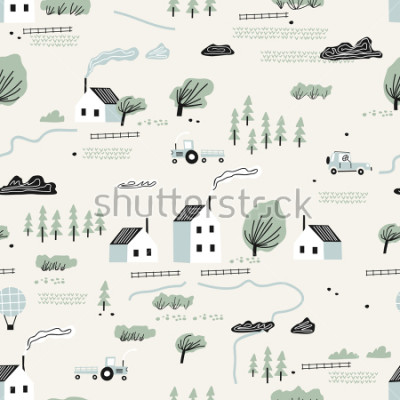Sticker seamless colorful pattern with house,trees and mountains. Nordic nature landscape concept. Perfect for kids fabric, textile, nursery wallpaper.