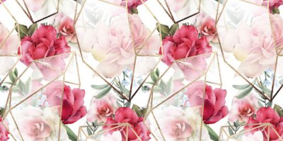 Sticker Seamless floral pattern with flowers on light background, watercolor. Template design for textiles, interior, clothes, wallpaper. The geometry of the crystal. Golden texture