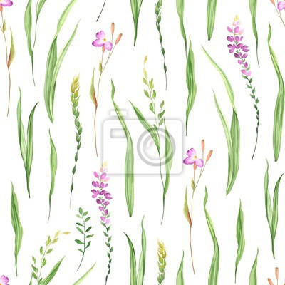 Seamless floral pattern with grass and wildflowers, meadow on white background. Vector illustration green and pink colors.