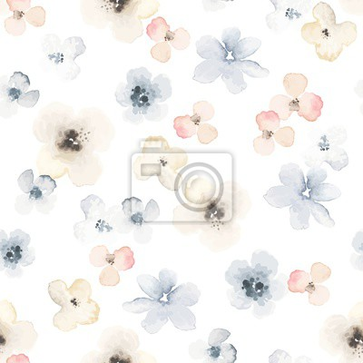 Seamless floral pattern with wildflowers in vintage watercolor style. Vector abstract illustration on white background.