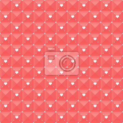 Seamless geometric pattern with hearts.