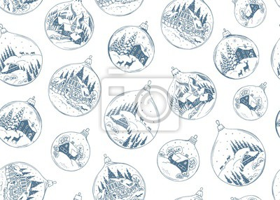 Seamless holiday pattern with Christmas balls blue color, vector illustration with drawing landscape, houses and animals in vintage style.