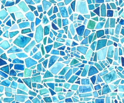 Sticker Seamless mosaic texture. Vector blue kaleidoscope background. Watercolor geometric pattern. Stained glass effect.
