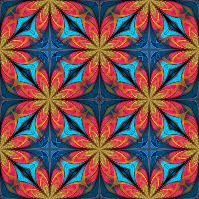 Sticker Seamless multicolored flower pattern. You can use it for stained-glass window, tile, mosaic, ceramic, notebook covers, phone case, postcards, cards, wallpapers. Artwork for creative design, art.