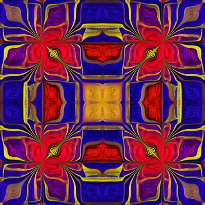 Sticker Seamless multicolored pattern from stylized flower. You can use it for stained-glass window, tile, mosaic, ceramic, notebook covers, phone case, postcards, cards, wallpapers. Artwork for design, art.