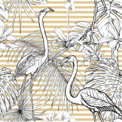 Sticker Seamless pattern, background. with tropical plants and flowers with white orchid and tropical birds. Graphic drawing, engraving style. vector illustration. Black and white on beige and white stripes.