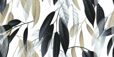 Sticker Seamless pattern, black, golden and white long leaves on light grey background