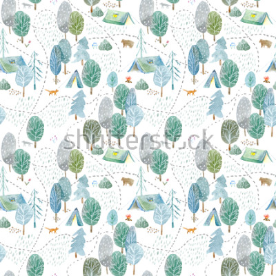 Sticker Seamless pattern of a camping,road,fox,wolf,bear in the woods.Tent, trees, bonfire, plants and floral.Landscape tourism.Watercolor hand drawn illustration.White background.