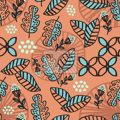 Seamless pattern of autumn leaves and foliage hand drawn with pastel multicolor background