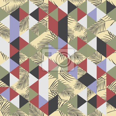 Seamless pattern of exotic beach with palm and triangle