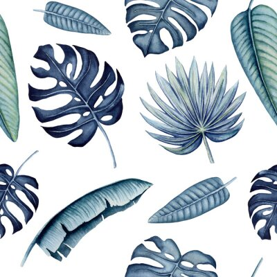 Sticker Seamless Pattern of Watercolor Tropical Leaves