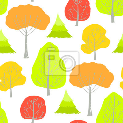 Seamless pattern with autumn trees