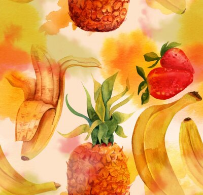 Sticker Seamless pattern with bright bananas, strawberries and a pineapple