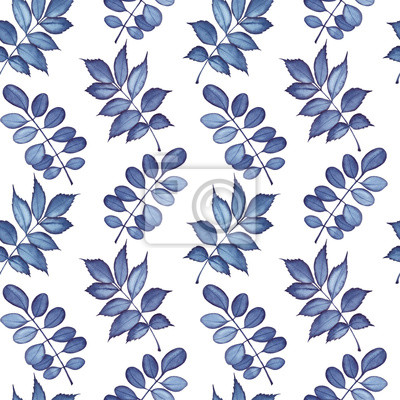 Seamless pattern with dark blue leaves. Watercolor illustration isolated on white background.