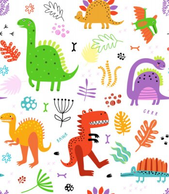 Sticker Seamless pattern with dinosaurs and flowers