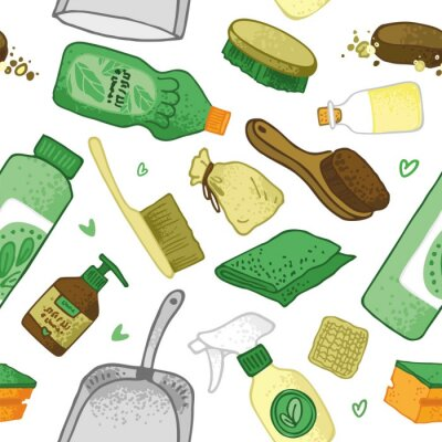 Seamless pattern with elements of eco house cleaning. Background for the site and promo materials of the house cleaning service by non-toxic and nature-friendly means. Cartoon vector illustration.