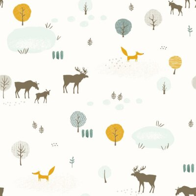 Seamless pattern with foxs, family of mooses, lakes and trees, texture landscape in retro flat style. Vector print in pastel colors.