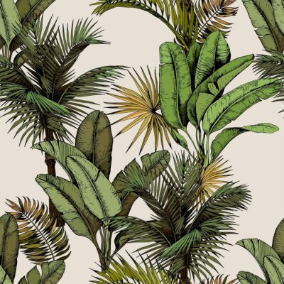 Sticker Seamless pattern with green tropical palm and banana leaves. Hand drawn vector illustration on beige background.