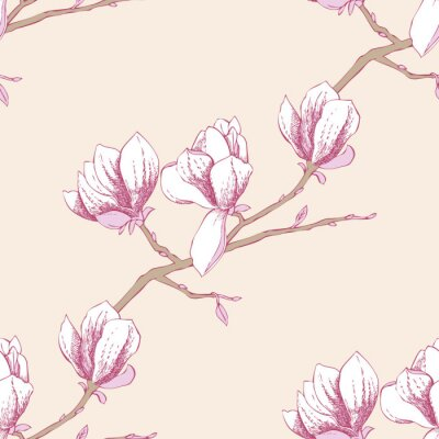 Sticker Seamless pattern with magnolia_3-03