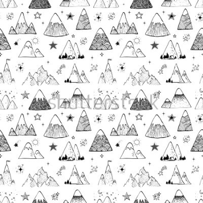 Sticker Seamless pattern with mountains and stars. Can be used for wallpaper, pattern fills, textile, web page background, surface textures