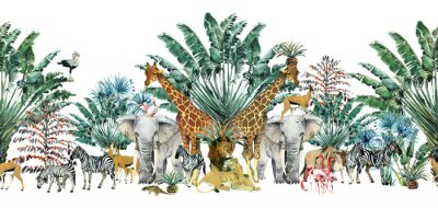 Sticker seamless pattern with safari animals and palm trees.Tropical vintage botanical island banner. Exotic jungle border.