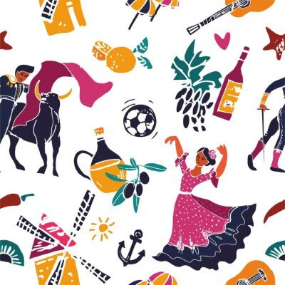 Seamless pattern with symbols of Spain for Wallpaper, print, poster, wrapping paper and background for the site. Vector cute cartoon illustration