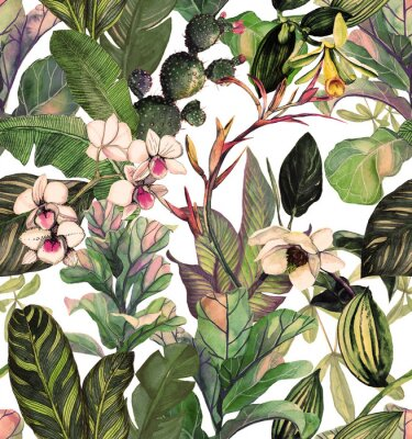 Seamless pattern with tropical leaves and flowers. watercolor pattern with a magnolia flower, orchids, cactus, white orchid phalinopsis. Botanical background