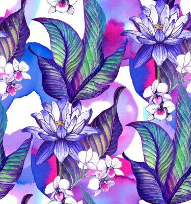Seamless pattern with tropical leaves. watercolor pattern with lotus flower and watercolor stains, white orchid Phalaenopsis